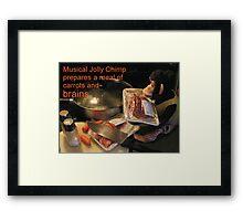 Musical Jolly Chimp Prepares a Meal of Brains Framed Print