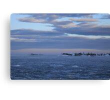 Lighthouse in a freezing ocean. Alnön, Höga Kusten / High Coast, Sweden Canvas Print
