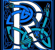 Celtic Peacock Letter R by Donna Huntriss