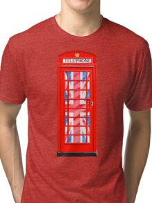 Thoroughly British Style - Red Phone Box & Union Jack Tri-blend T-Shirt