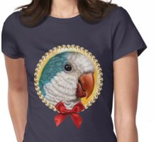 Blue quaker parrot realistic painting Womens Fitted T-Shirt