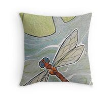 Dragonfly and Lilypad Throw Pillow