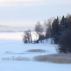 The small red cottage on the shore - Winter. Höga Kusten / High Coast, Sweden by intensivelight