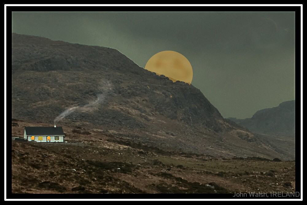 Moon behind the hill. Co Kerry. by John Walsh, IRELAND