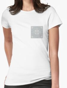 Checker Plate Silver Womens Fitted T-Shirt