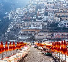 Positano Beach Umbrellas by George Oze