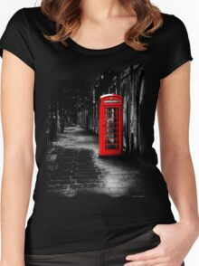 London Calling - Red British Telephone Box Women's Fitted Scoop T-Shirt