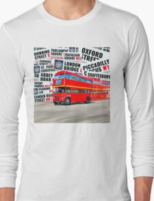 Classic Red London Double decker Routemaster Bus Long Sleeve T-Shirt