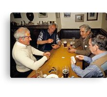 Game of dominoes in English pub, 1985 Canvas Print