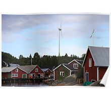 Wind turbine in a fishing village - Skeppsmalen, Höga Kusten / High Coast, Sweden Poster