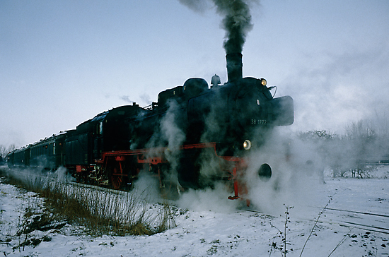 Steam locomotive in winter, Germany,1985 by David A. L. Davies