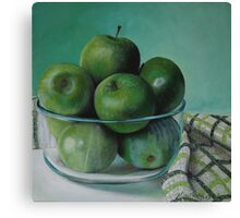 Green Apples and Tea Towel Canvas Print