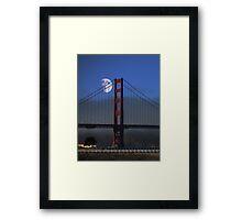 Moon Over Foggy Golden Gate Bridge . Vertical Framed Print