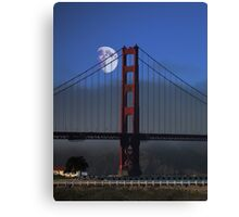 Moon Over Foggy Golden Gate Bridge . Vertical Canvas Print