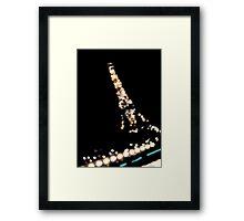 Eiffel Tower Lights at Night Framed Print