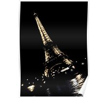 Eiffel Tower Diagonal at Night Poster