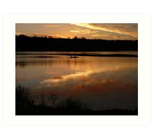 Kayak at Dusk, Lake Boondooma Art Print