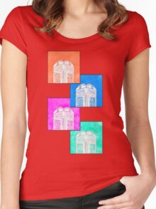 British Phone Booth Pop Art Style Women's Fitted Scoop T-Shirt
