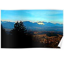French Alps Watercolour Pano Poster