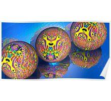 Fractal Balls Taking A Dip Poster