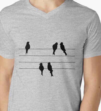 Birds on a Wire Mens V-Neck T-Shirt