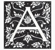 William Morris Letter A# 2 Sticker by Donna Huntriss