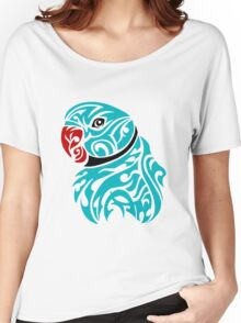 Blue ringneck parrot tattoo Women's Relaxed Fit T-Shirt