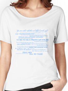 Dress Up, Me Hearties, Yo Ho! (White/Blue) Women's Relaxed Fit T-Shirt