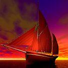 Red Boat at Sunset by Sandra Bauser Digital Art