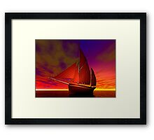 Red Boat at Sunset Framed Print