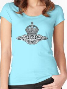 Skeleton Claddagh Black and White Women's Fitted Scoop T-Shirt