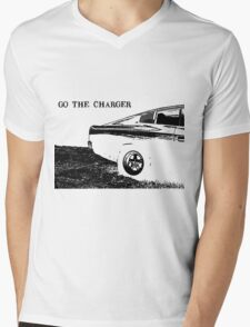 Valiant Charger Australian Muscle Car rear view, GO THE CHARGER black Mens V-Neck T-Shirt