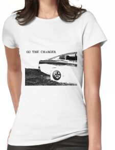 Valiant Charger Australian Muscle Car rear view, GO THE CHARGER black Womens Fitted T-Shirt