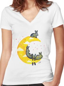 Hanging on the Moon Women's Fitted V-Neck T-Shirt
