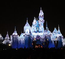Disneyland Castle at Christmas by roguefaerie