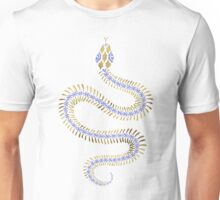 Snake Skeleton – Periwinkle & Gold Unisex T-Shirt