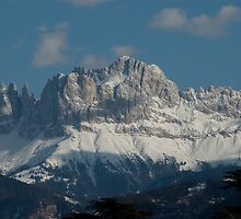 Snow on the Dolomites, Bolzano/Bozen, Italy by L Lee McIntyre