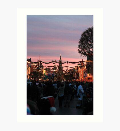 Disneyland Main Street at Christmas Art Print