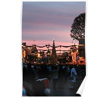 Disneyland Main Street at Christmas Poster