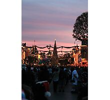 Disneyland Main Street at Christmas Photographic Print