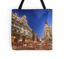 The Chaos Of Pedestrians @ Alcalá Street Tote Bag