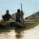 Children fishing on Niger River-renote Nigeria. by joshuatree2