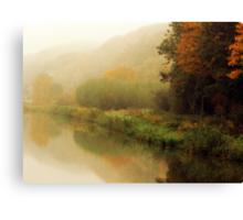 Fog along the river.. Canvas Print