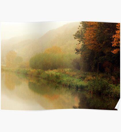 Fog along the river.. Poster