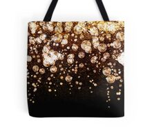 Xmas Gold Sparkle Bubbles on Black Tote Bag