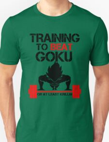 Training to Beat Goku - Vegeta White T-Shirt