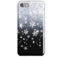 Xmas Silver Sparkle Snowflakes on Black iPhone Case/Skin