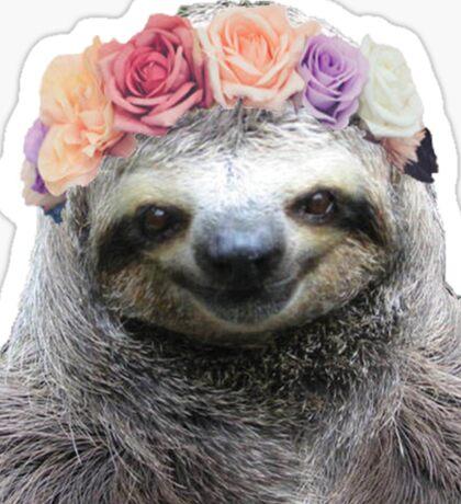 Flower Crown Sloth Sticker