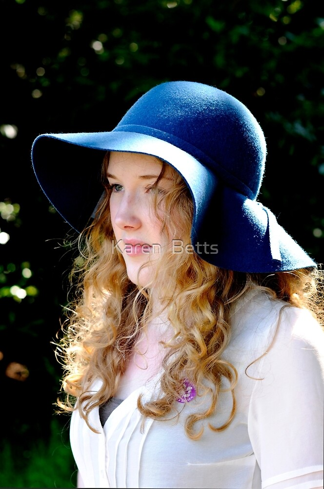 Portrait of Grace ~ her love of hats by Karen  Betts