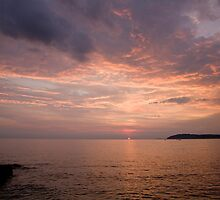 Sundown over the Adriatic coastline by Ian Middleton